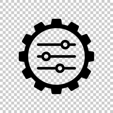 setting icon in gear. On transparent background.