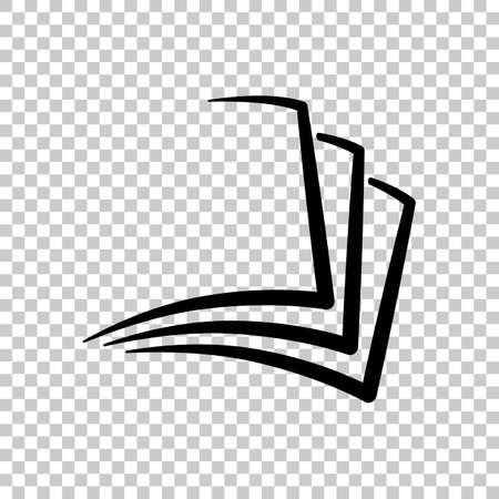 sheet of book, paper  On transparent background. Illustration