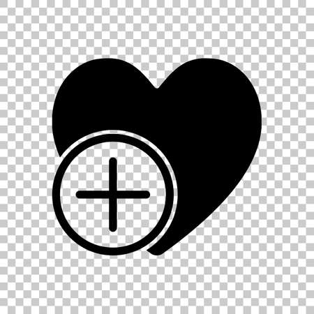 heart and plus simple silhouette On transparent background.