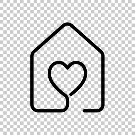 House with heart icon line style on transparent background.