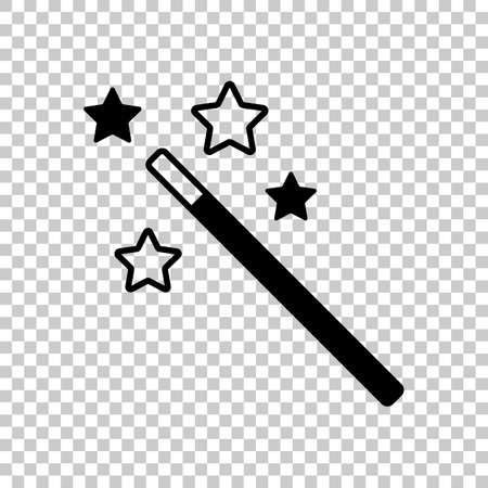 magic wand with stars simple silhouette On transparent background. Иллюстрация