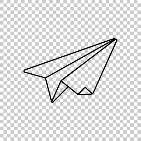 Paper plane origami glider on transparent background.