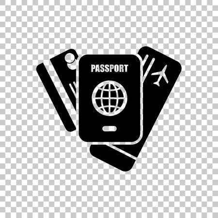 passport, ticket, credit card. air travel concept. On transparent background.
