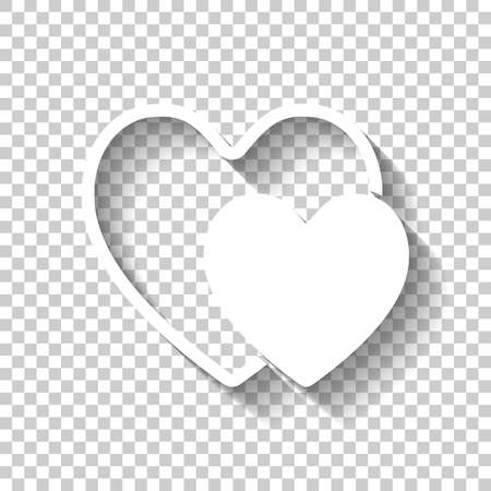 2 hearts. Simple icon. White icon with shadow on transparent background