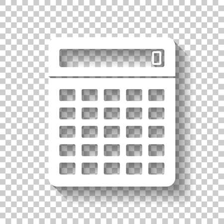 Calculator icon. White icon with shadow on transparent background Иллюстрация