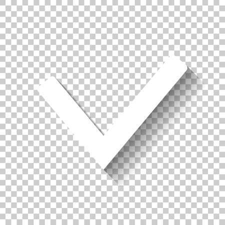 Check mark icon. White icon with shadow on transparent background Illustration