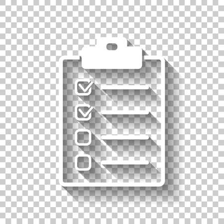 Checklist icon. White icon with shadow on transparent background