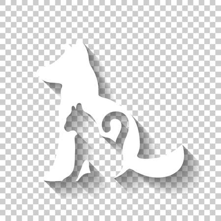 cat and dog icon. White icon with shadow on transparent background