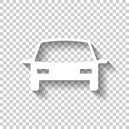 car icon. White icon with shadow on transparent background Vectores