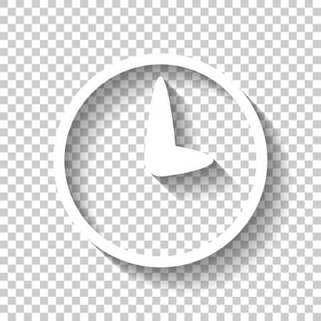 Simple icon of clock. White icon with shadow on transparent background Illustration