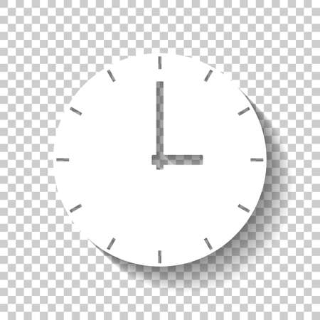 Simple clock icon. White icon with shadow on transparent background Ilustrace