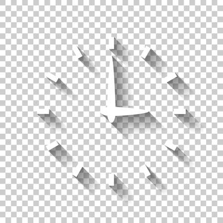 Simple icon of clock. White icon with shadow on transparent background Çizim