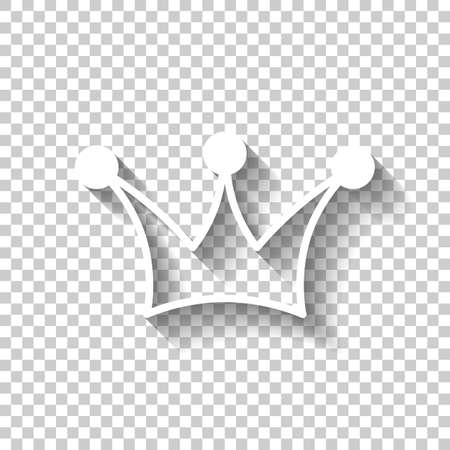 Crown icon. White icon with shadow on transparent background