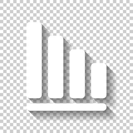 Declining graph line icon. White icon with shadow on transparent background