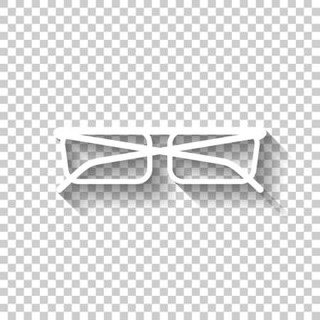 A eyeglasses icon. White icon with shadow on transparent background