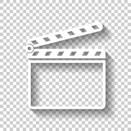Film clap board cinema open icon. White icon with shadow on transparent background