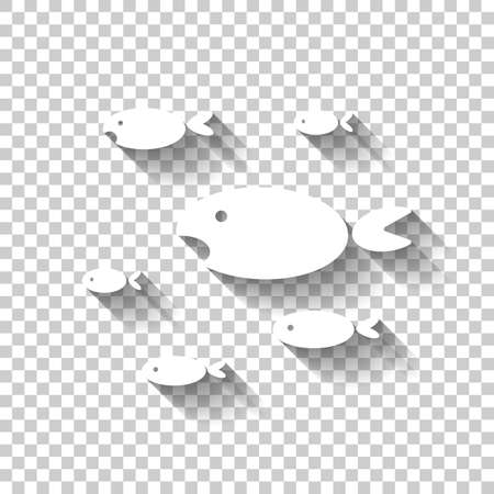School of fishes. White icon with shadow on transparent background