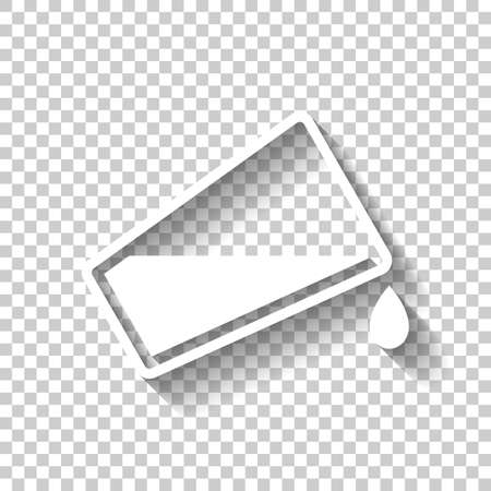 A glass and flowing water icon. White icon with shadow on transparent background