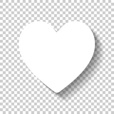 Simple heart icon. White icon with shadow on transparent background