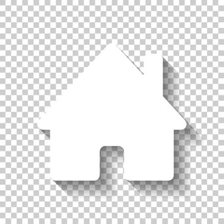 A house icon. White icon with shadow on transparent background