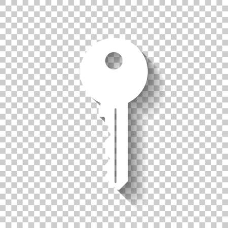 key icon. White icon with shadow on transparent background
