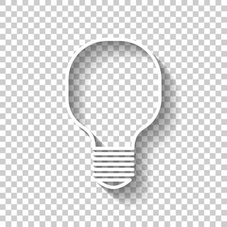 Light lamp icon. White icon with shadow on transparent background 向量圖像