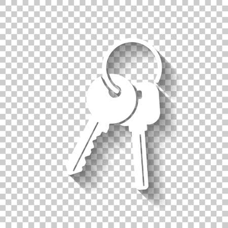 keys on the ring icon. White icon with shadow on transparent background Illustration