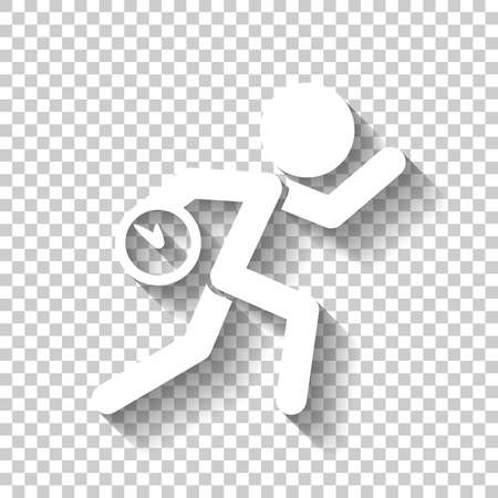 Running man with clock. Simple icon. To be late. An unpleasant situation. White icon with shadow on transparent background Illustration