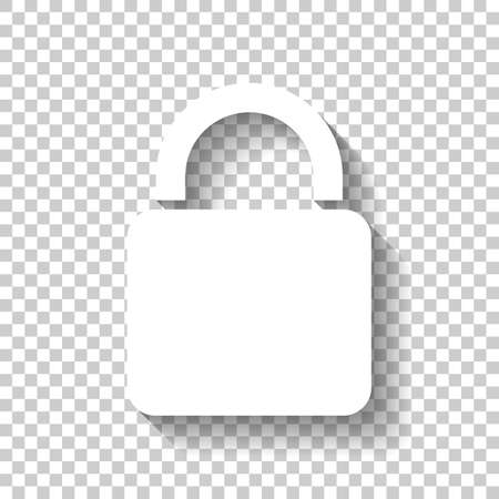 lock icon. White icon with shadow on transparent background