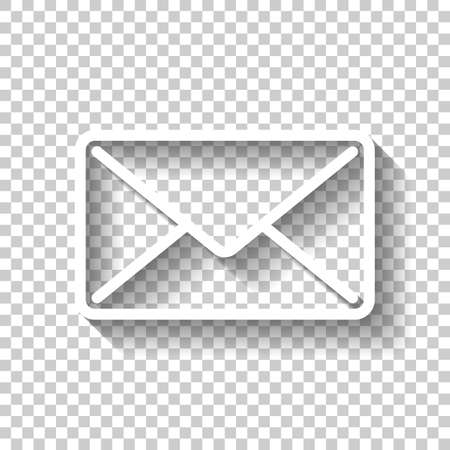 mail close icon. White icon with shadow on transparent background