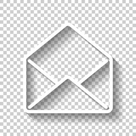 mail open icon. White icon with shadow on transparent background Vettoriali