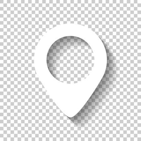 Icono de etiqueta de mapa. Icono blanco con sombra sobre fondo transparente