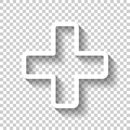 Medical cross icon. White icon with shadow on transparent background Illustration