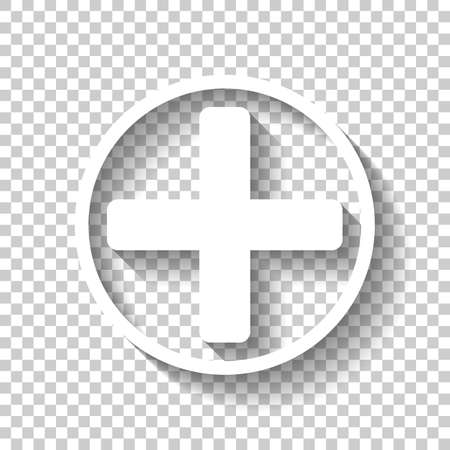 Medical cross icon. White icon with shadow on transparent background Vettoriali