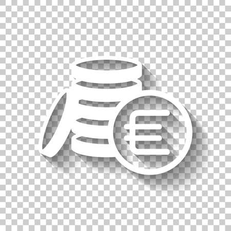 money coins euro icon. White icon with shadow on transparent background
