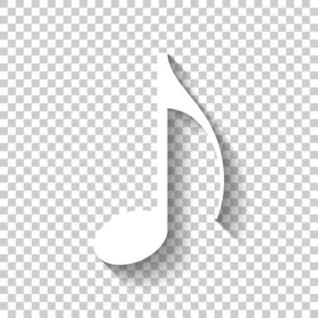 Music note icon. White icon with shadow on transparent background