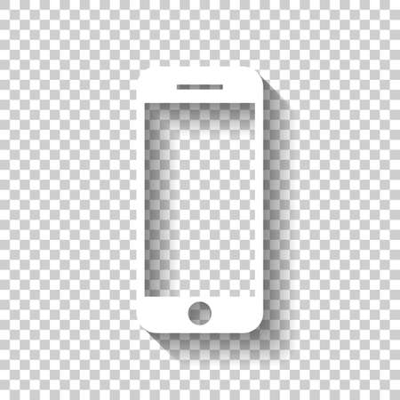 mobile phone icon. White icon with shadow on transparent background
