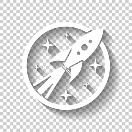 Rocket launch with stars in circle icon. White icon with shadow on transparent background