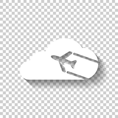 Plane and cloud. Simple icon.  White icon with shadow on transparent background Иллюстрация