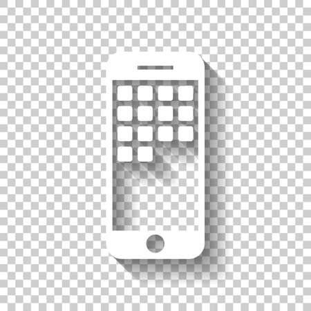 Cellphone icon. White icon with shadow on transparent background Ilustração