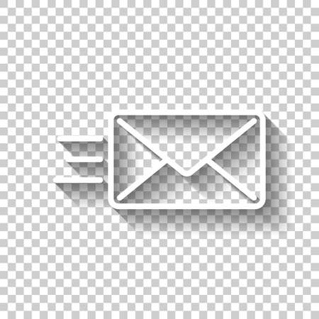 send mail icon. White icon with shadow on transparent background