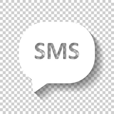 SMS icon. White icon with shadow on transparent background Illustration