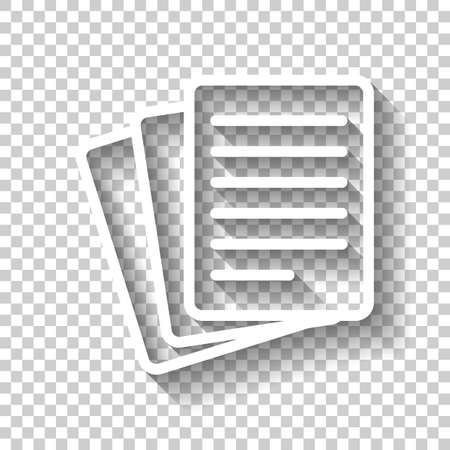 Stack Of Paper icon. White icon with shadow on transparent background