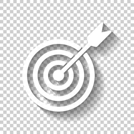 Zielsymbol. Weiße Ikone mit Schatten auf transparentem Hintergrund Vektorgrafik