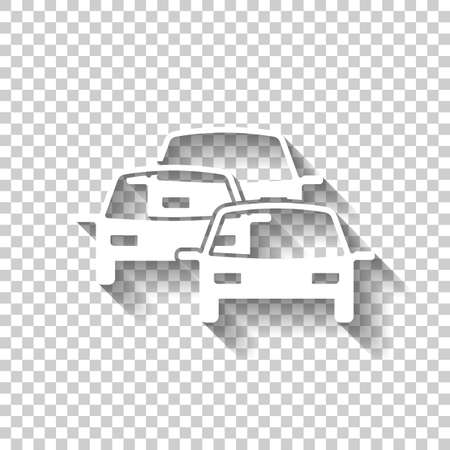 Traffic jam icon. White icon with shadow on transparent background