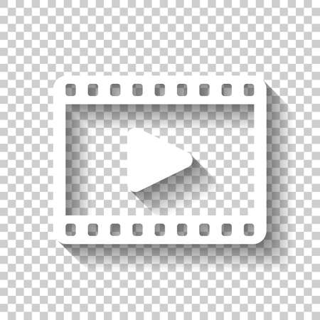 Video icon. White icon with shadow on transparent background