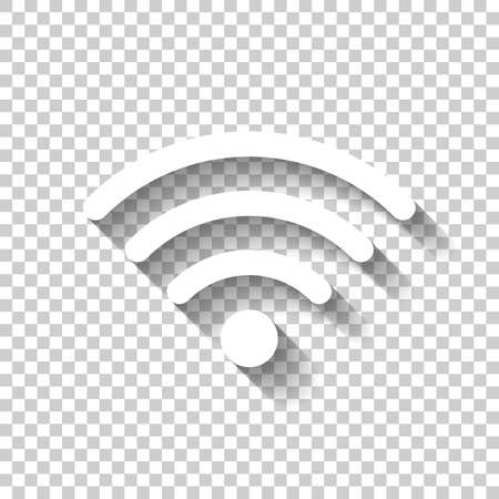 WiFi icon. White icon with shadow on transparent background
