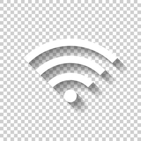 WiFi icon. White icon with shadow on transparent background