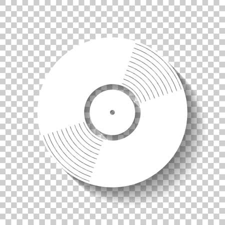 vinyl icon. White icon with shadow on transparent background