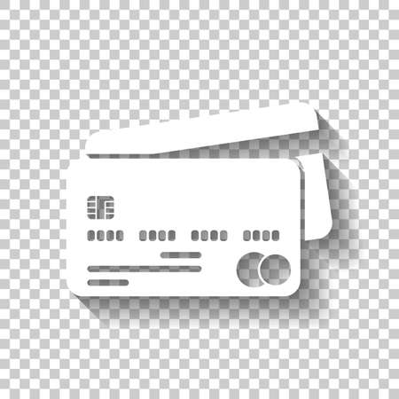 Credit card icon. White icon with shadow on transparent background. Illustration
